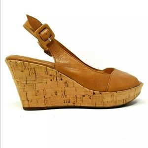 SOFFT LEATHER PEEP TOE SLINGBACK CORK WEDGE SANDAL